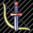 archer, bow, fantasy, hunter, knife, ranger, rpg icon