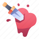 ability, dead, game, heart, knife, skill, stab icon