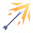 arrow, bow, game, shoot, skill, swords, weapon icon