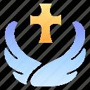 church, cross, fantasy, healer, holy, rpg, wing icon
