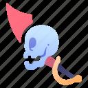 blade, game, pirate, rpg, skull, sword, weapon