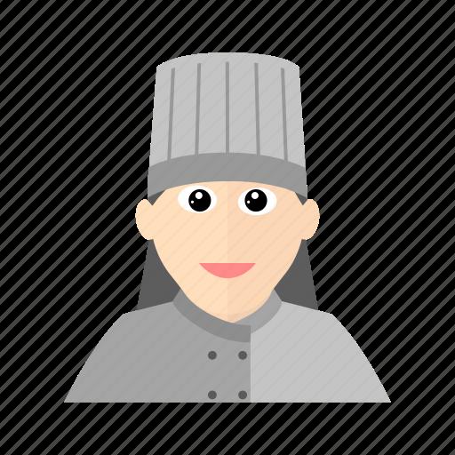 chef, cook, female, hat, kitchen, restaurant icon