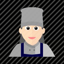 apron, chef, cook, female, hat, kitchen, restaurant icon