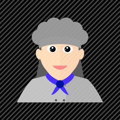 Chef, cook, female, hat, kitchen, restaurant, scarf icon - Download on Iconfinder