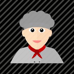 chef, cook, hat, kitchen, male, restaurant, scarf icon
