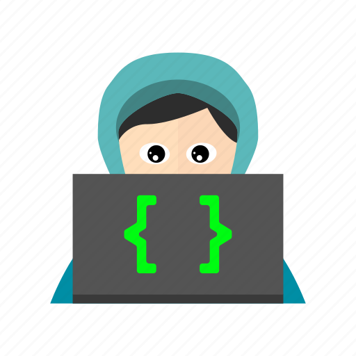 back end, braces, curly, developer, hoodie, laptop, website icon