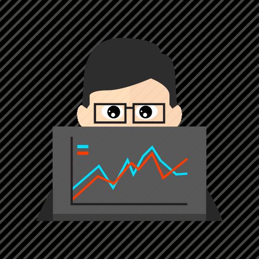 analysis, analyst, analytics, chart, computer, data, laptop icon