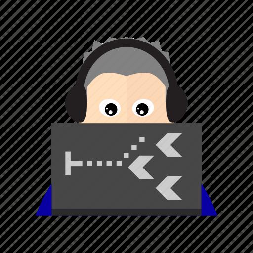 computer, game, gamer, gaming, headphone, laptop, player icon