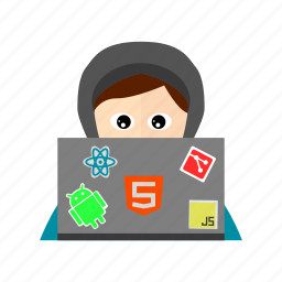 back end, computer, front end, full stack, hoodie, laptop, programmer icon