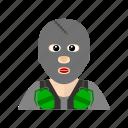 grenade, hijack, mask, terrorist icon