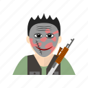 gun, hijack, mask, submachine, terrorist, weapon icon