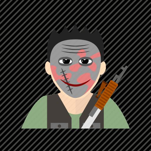 gun, hijack, mask, submachine, terrorist, weapon icon