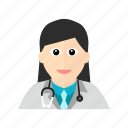 doctor, female, hospital, stethoscope, treatment icon