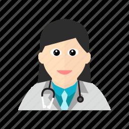 doctor, female, hospital, stethoscope, treatment icon
