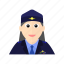 air, airplane, female, flight, force, officer, plane icon