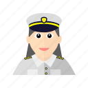 avatar, female, navy, officer, uniform icon