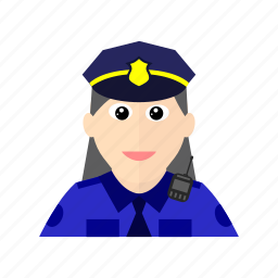 female, force, interphone, investigate, officer, police, protect icon