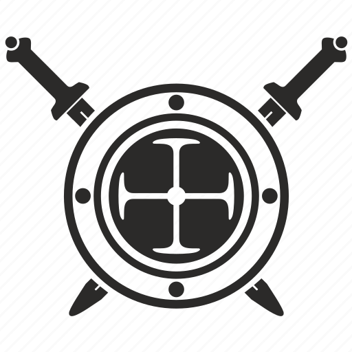 army, roman, round, shield, sword, weapon icon