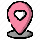 location, meeting, pin, poin, valentine icon