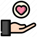 give, hand, heart, love, valentine icon