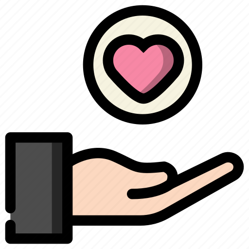 give, hand, heart, love, valentine icon