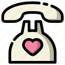 call, heart, love, telephone, valentine icon