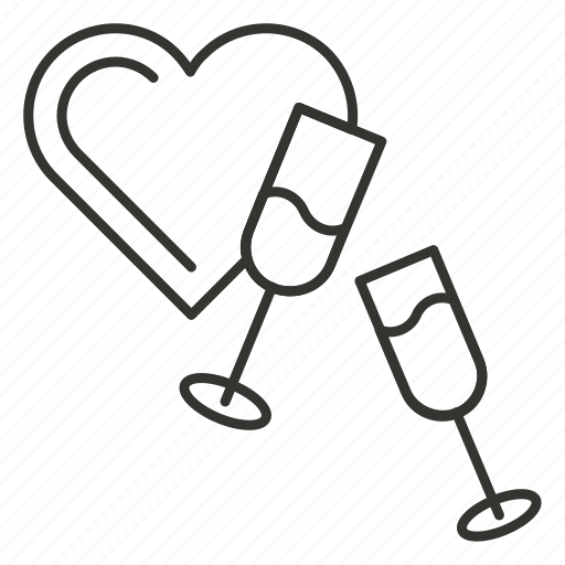 date, evening, glasses, heart, love, romantic, valentine icon