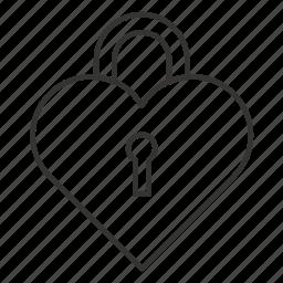 heart, heart on the lock, lock, love, romance, valentine icon