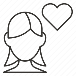 girl, heart, in love, love, romance, valentine, woman icon
