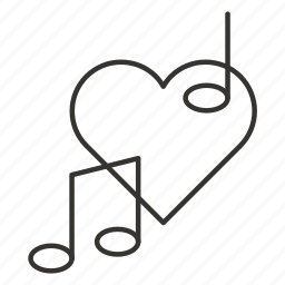 favorite, heart, love, music, romance, romantic music, valentine icon