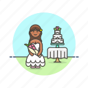 bride, cake, celebration, marriage, romance, spouse, wedding, woman icon