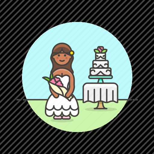 bride, cake, celebration, marriage, romance, spouse, wedding, woman icon
