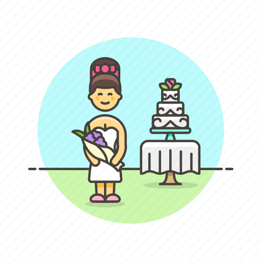 bride, cake, celebration, dessert, romance, spouse, wedding, woman icon