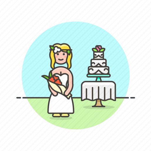 bride, cake, celebration, dessert, romance, spouse, wedding, woman icon