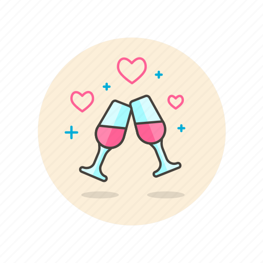 champagne, cheers, date, drinks, love, night, romance icon