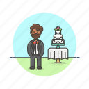cake, formal, groom, man, marriage, romance, spouse, wedding icon