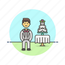cake, celebration, dessert, groom, man, romance, spouse, wedding icon