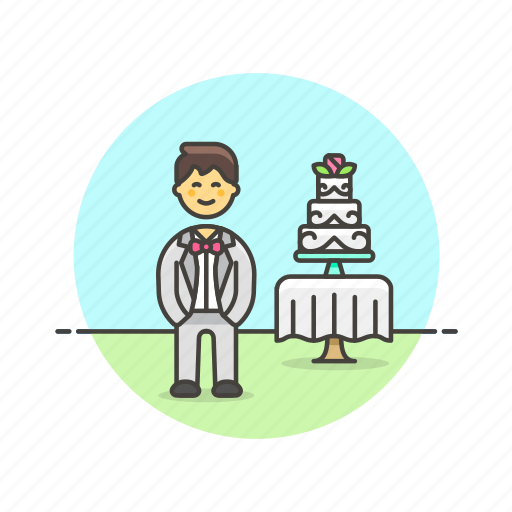 cake, celebration, dessert, groom, man, romance, spouse, wedding icon