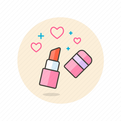 beauty, cosmetic, lipstick, love, makeup, red, romance icon