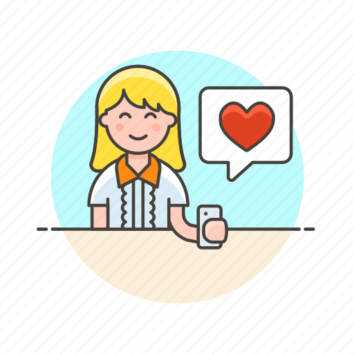 heart, love, message, romance, sms, text, woman icon