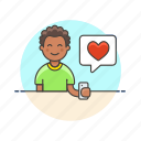 heart, love, man, message, romance, sms, text icon