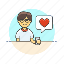 asian, love, male, message, romance, text icon