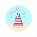 cake, couple, dessert, marriage, party, romance, wedding icon