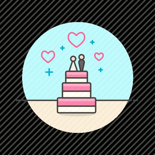 cake, couple, dessert, marriage, party, romance, wedding icon
