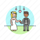 celebration, ceremony, couple, heart, marriage, romance, spouses, wedding icon