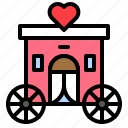 carriage, heart, romance, romantic, transport, valentine, vehicle icon