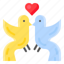 animal, bird, couple, heart, romance, romantic, valentine icon