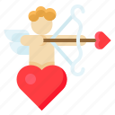 arrow, cupid, heart, love, romance, romantic, valentine icon