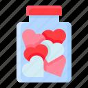 gift, heart, jar, love, romance, romantic, valentine icon
