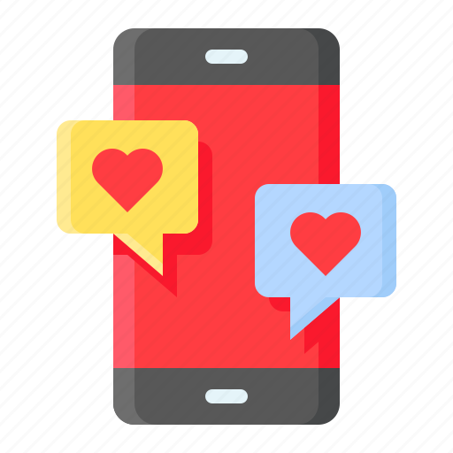 chat, communication, heart, love, mobile, romance, romantic icon